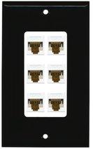 RiteAV Decorative 1 Gang 6 Port Cat6 Wall Plate - Black/White - $29.69