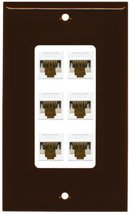 RiteAV Decorative 1 Gang 6 Port Cat6 Wall Plate - Brown/White - $29.69