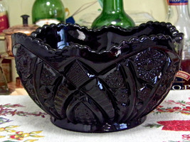 Indiana Glass Monarch Paneled Daisy Black Glass... - $19.75