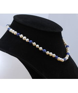 15.5 Inch Choker Necklace 6 mm White Pearl Blue Lapis Knotted Silk Silve... - £43.01 GBP