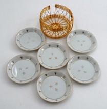EUC Andrea by Sadek Porcelain Gold Fleur de Lis 6 Coaster Set in Gold Wi... - $13.32