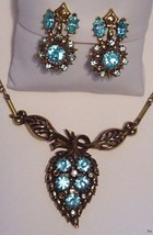Vtg CORO Demi-Parure Necklace Earrings Set Aqua - $40.90