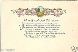 Wishes on Your Birthday                  1921 Card              A.M. Dav... - $8.25