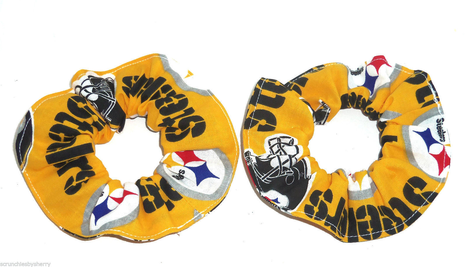 Pittsburgh Steelers Gold Fabric Mini Hair Scrunchies by Sherry Lot of 2 - $8.99