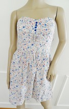 Nwt BeBop Cotton Summer Fit Flare Dress Sundress Sz L Large Juniors ivory Floral - $21.73