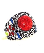 Red Coral Ring 10 carats size 6 stainless steel... - $85.00