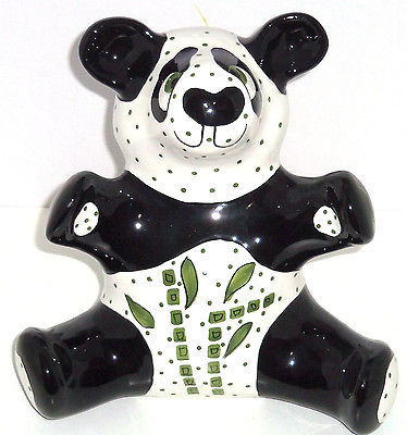 Primary image for Panda Bear Bank Giant Coin Money Polka Dots Ceramic Animal