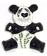 Panda Bear Bank Giant Coin Money Polka Dots Ceramic Animal - $89.95