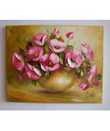 Pink Wild Roses Original Oil Painting Impasto Palette Knife Textured Imp... - $220.00