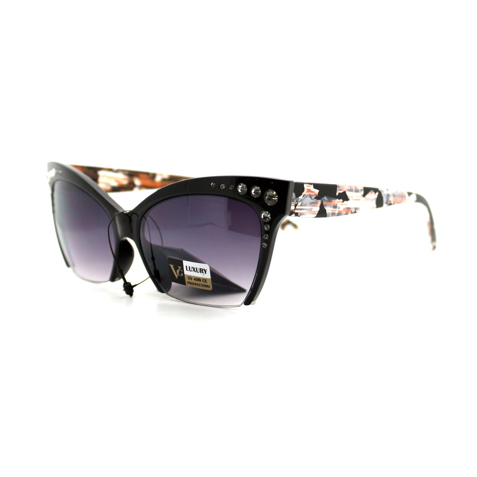 Womens Cropped Shaved Cateye Sunglasses Rhinestone & Marble Frame