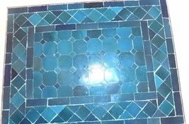 Sm. Moroccan Mosaic Tile Indoor/Outdoor Table in Green/Turquoise - $98.01