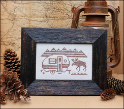 Greetings From Moose Mountains Post Card cross stitch Open Road Abode Needlework - $4.00