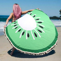 Round Beach Towel Green Kiwi Print Wrap Poncho with Tassel Trim 329510 - $31.01 CAD