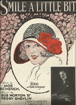 1925 Smile A Little Bit Art Deco Pretty Girl Cover Art Vintage Sheet Music - $7.95