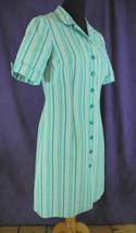 Vintage Seersucker Day Dress Turquoise Blue Teal Striped Housedress Cute... - $34.00