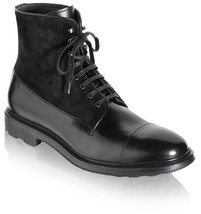 Handmade Men's Black ankle leather boot Men leather and suede lace up boot  - $179.99