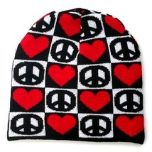 NEW WINTER KNIT HAT CAP BLACK WHITE CHECKERS PEACE SIGN RED HEARTS BEANI... - $10.50 CAD