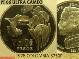 Colombia 1978 750 Pesos~Conservation~Hummingbird~NGC Proof-66 UC~3,100 Minted~FS - $164.33