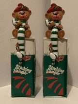 Vintage 1982 Holiday Teddy Bear Candy Cane Christmas Stocking Hanger Holder - $19.79