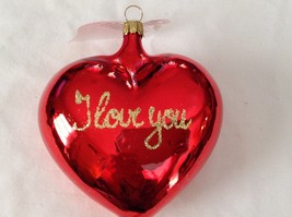 Red shiny heart w I LOVE YOU gold glitter Glass Ornament Old German Christmas
