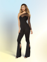 Roma Black & Sheer Mesh Single Sleeve Jumpsuit w/ Slit Bottoms 3399 - $41.99