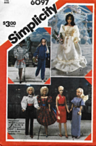 Vintage Barbie Doll Sewing Clothes Pattern 6097 - $18.00
