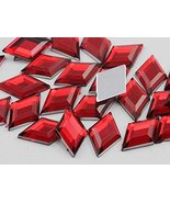 18x11mm Red Ruby H103 Flat Back Diamond Acrylic Gems Pro Grade - 35 Pieces - $5.64