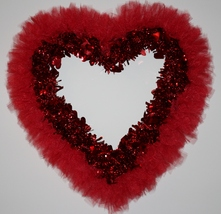 Valentines, Valentine's Day Wreath, Heart Wreath, Tulle Wreath, Tutu Wreath - $27.99