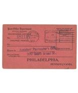 1924 Post Office Official Business Return Receipt Card Detroit MI Phila PA - €4,42 EUR
