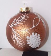 New Glass Blown Christmas Tree Ornament Bronze Metallic Snow Flakes Hand... - $14.01