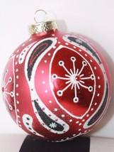 New Glass Blown Christmas Tree Ornament Red Ball Paisley Gems Glit Hand ... - $15.87
