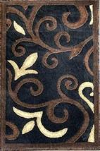 emirates Modern Door Mat Area Rug Black Brown Beige Contemporary Floral Tropical