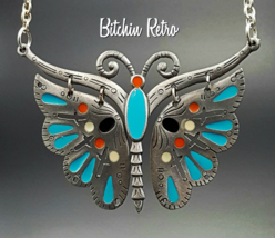 Celebrity Vintage Butterfly Pendant Necklace with Turquoise Enamel   - $29.00