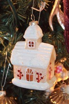 New Glass Blown Christmas Tree Ornament Barn House Mercury SiLver Decor - $23.36