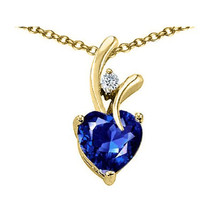 7MM OR 9MM HEART SHAPE BLUE SAPPHIRE PENDANT SOLID 14K YELLOW OR WHITE GOLD image 1