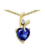 7MM OR 9MM HEART SHAPE BLUE SAPPHIRE PENDANT SOLID 14K YELLOW OR WHITE GOLD - $25.82+