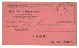 Post Office Official Business Registry Return Receipt Card Grandin 1909 ... - $4.99