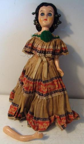 "Vintage Reliable Doll Sleepy Eyes Folk Costume Made in Canada 11"" Needs Repair"