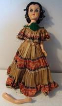 """Vintage Reliable Doll Sleepy Eyes Folk Costume Made in Canada 11"""" Needs Repair"""