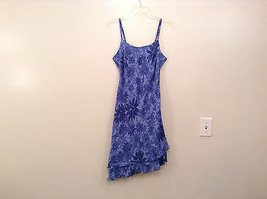 Donna Ricco Petite Blue with Dark Blue Flowers Sleeveless Lined Dress Size 8P