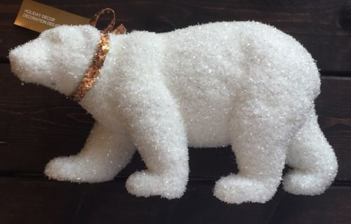 Primary image for New Christmas Table Topper Polar Bear White Silver Gold Accent Holiday Decor