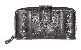 PCH Fashion Black Faux Leather Tooled Checkbook Wallet Clutch Zipper Organizer