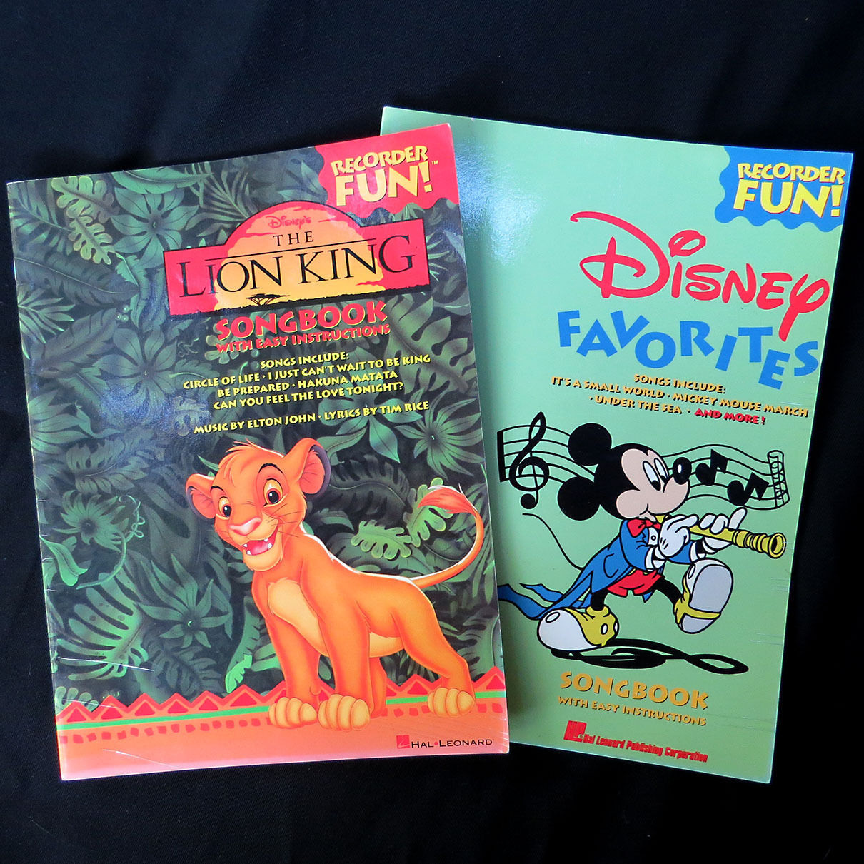 Primary image for 2 Recorder Disney Favorites Songbook & Lion King Songs Easy Sheet Music Mickey