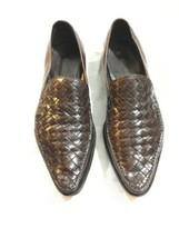 Womens Bottega Veneta Woven Intrecciato Brown Leather Pointed Shoes Sz. 37.5 / 7 - $72.43