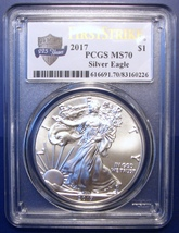 2017 $1 American Eagle. PCGS MS70 First Strike. 225th Anniversary. SS2 - $53.95
