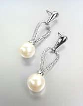 EXQUISITE 18kt White Gold Plated CZ Crystals Creme Pearl Earrings BRIDAL... - $29.99