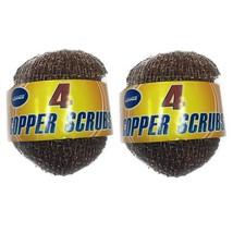 Copper Scrubber Scouring Pad 2x(4 in 1) For Dish Pot Grill Kitchen Outside - $8.33