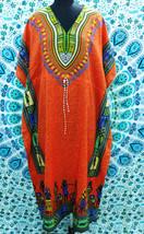 FREE SHIP Boho African Orange Kimono Kaftan Dress~Beach Cover-up~Free Size - $11.75