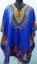 Short V-Neck Blue African Kimono Kaftan~Beach Caftan~Free Size Dress~FREE SHIP - $8.59