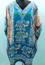 Short V-Neck Teal Elephant Kimono Kaftan~Beach Caftan~Free Size Dress~FREE SHIP - $8.59